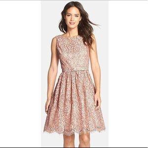 (Eliza J) Pink Belted Lace Fit & Flare Dress